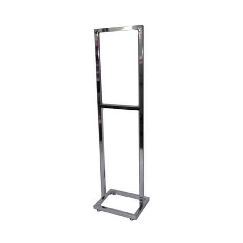 "Bulletin Sign Holder, 14""W X 22""H, Sq Tube Frame & Base, W/ Levelers, Chrome"