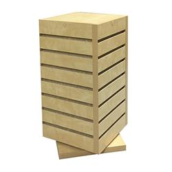 Slatwall Countertop Cube Display Fixture, Rotating, Birch