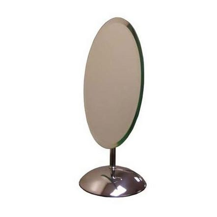 "Oval Countertop Mirror, 8""W X 10""H, Chrome Base"