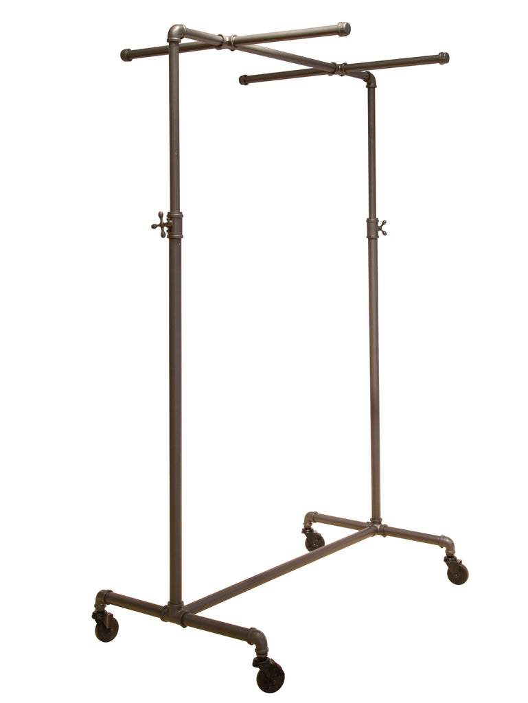 Pipeline Adjustable Ballet Rack with Two Cross Bars, Anthracite Gray