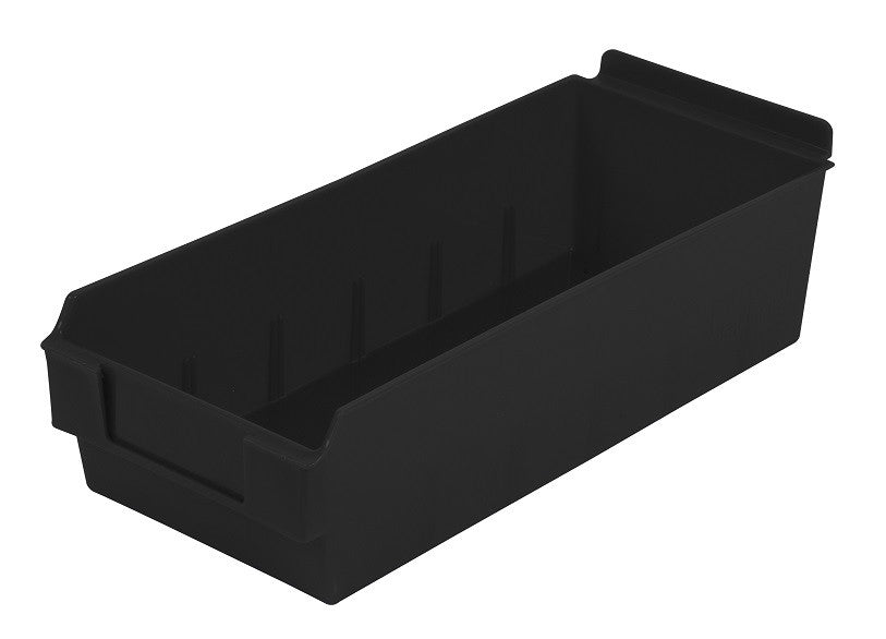 Black Shelfbox 300 Slatbox storage bins work with Slatwall and other wall systems