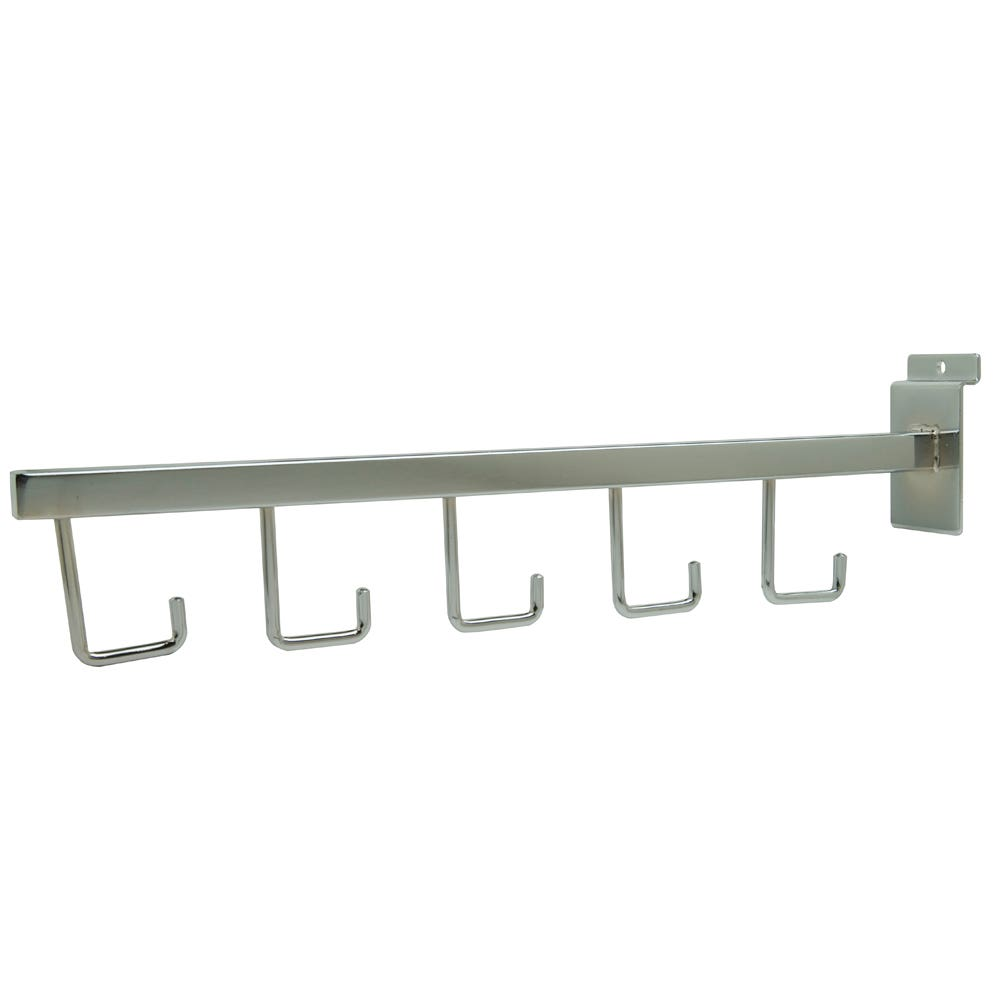 "Straightout, For Slatwall, 16"" Square Tube, W/ 5 Hooks, Chrome"