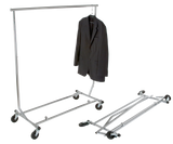 "Salesman's Single Bar Folding Rack, 48"" L, 55"" - 65"" H, Chrome"