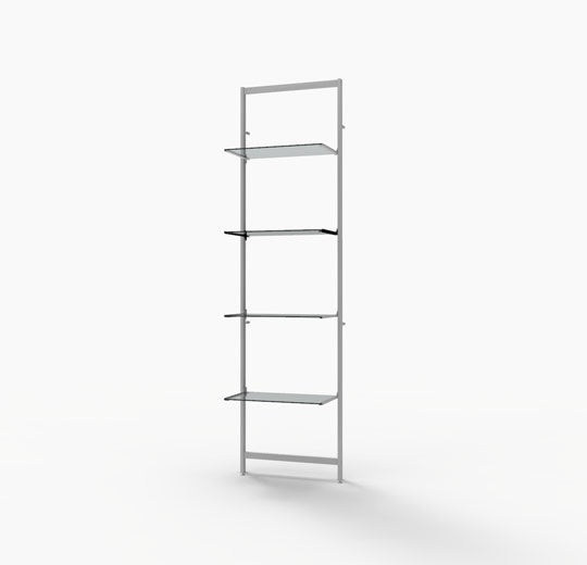 "Vertik Shelving Display for Four 14""-16"" Wood and Glass Shelves, White"