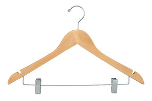 "Wishbone Wood Hangers w/ Chrome Hook and Metal Bar w/ Clips, 17"", (100)"