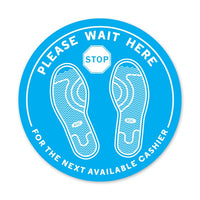 Our PLEASE WAIT HERE circle floor decal is a part of Capitol Hardware's line of Personal Protective Equipment (PPE)