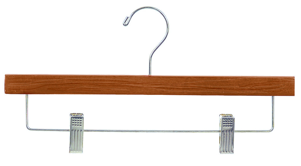 14 Inch Flat Wood Pant or Skirt Hangers in Matte Teak with Chrome Bar and Clips