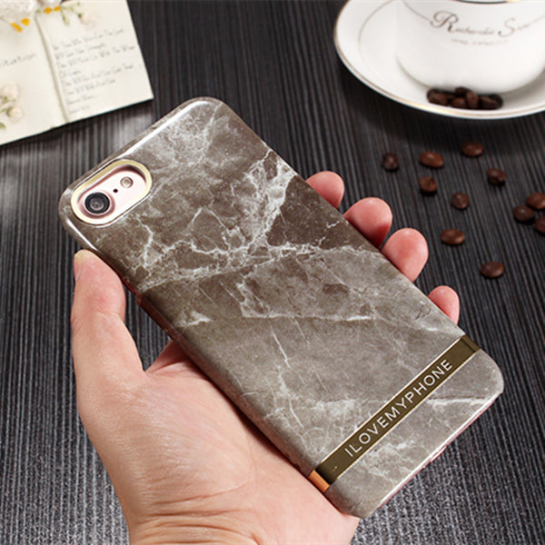 Marble Capa Coque Slim Hard Plastic Phone Cases Cover For iPhone 6 Case For iphone 6S 6 Plus candy cover with gold belt
