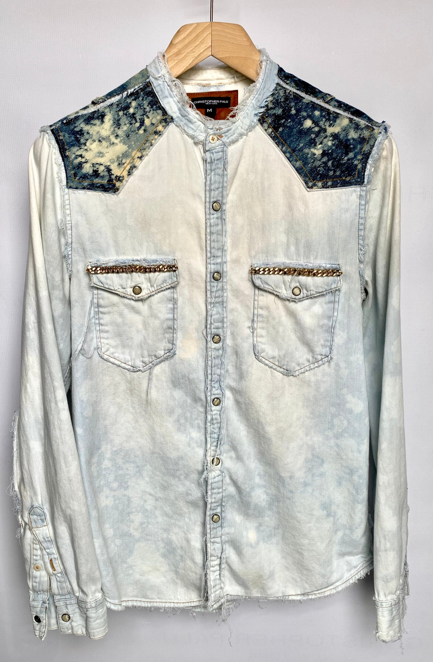 2-Toned Distressed Denim Shirt