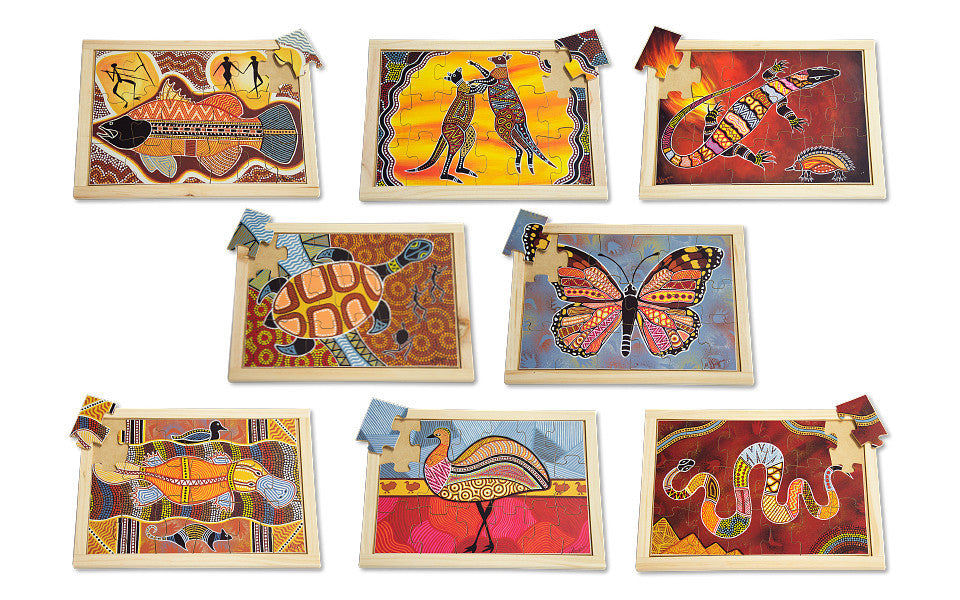 Large Aboriginal Art Style Puzzle Set with FREE Posters