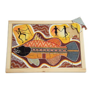 Aboriginal Art Barramundi Large Puzzle