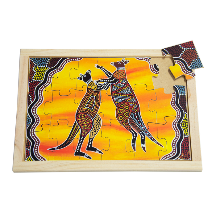 Aboriginal Art kangaroos Large Puzzle