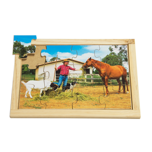 Farmer Feeding Animals Farm Puzzle