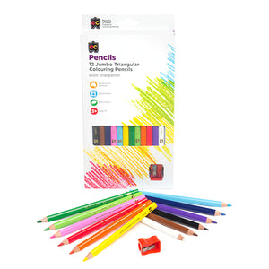 Jumbo Triangular Washable Pencils and Sharpener