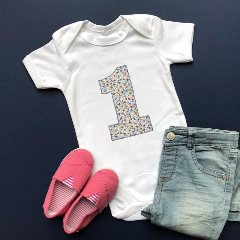 1st Birthday Bodysuit, Liberty of London Applique