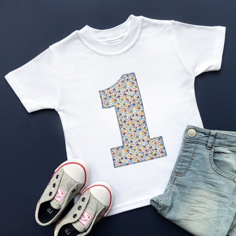Number 1 Birthday Shirt, Liberty of London Applique