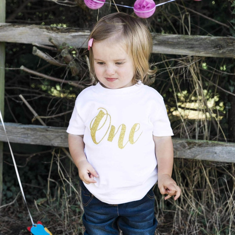 1st Birthday Top, Script One Plain TShirt