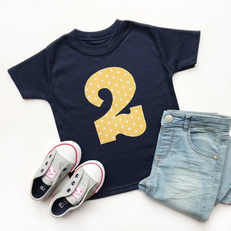2nd Birthday Shirt, Star Applique Design
