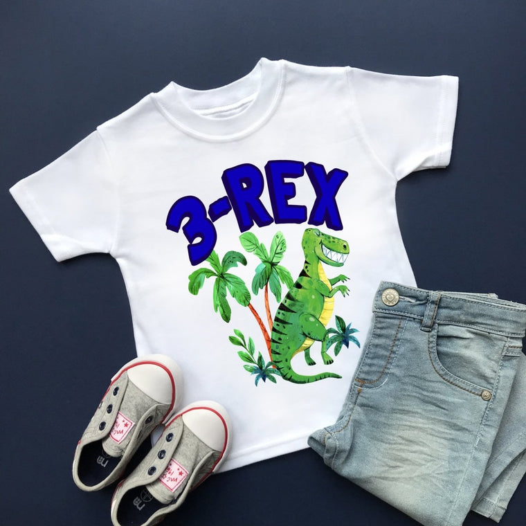 3-Rex Dinosaur Birthday, Plain Top