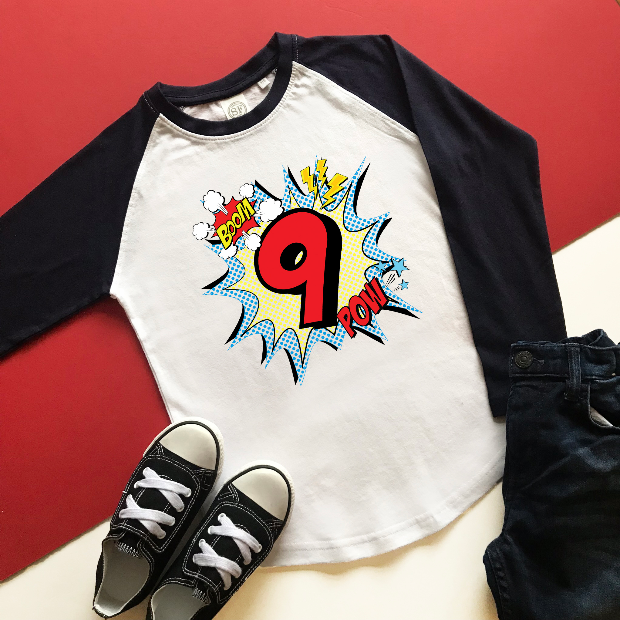 Comic 9th Birthday Raglan - Cotton and Bloom