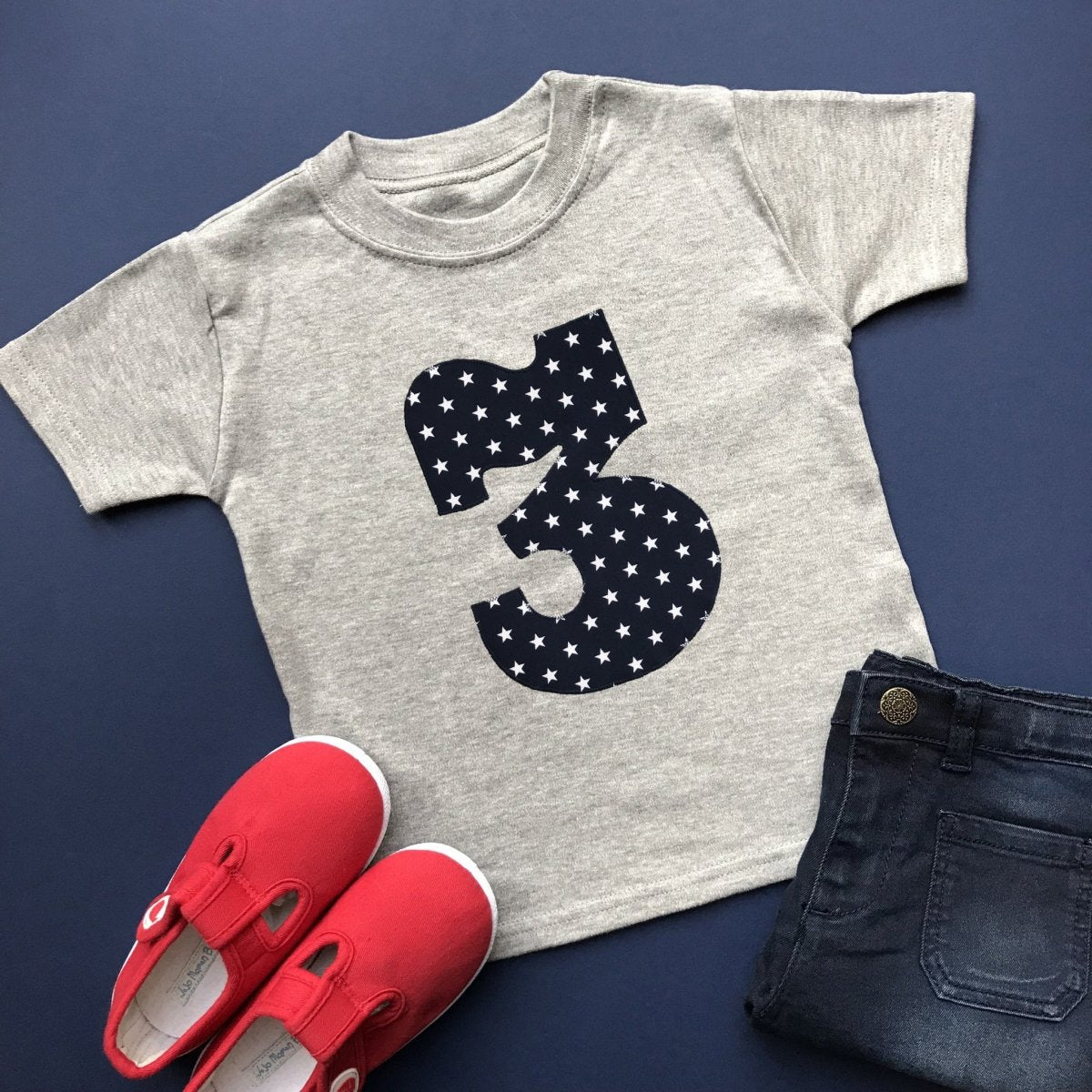 3rd Birthday Shirt, Star Applique Design - Cotton and Bloom