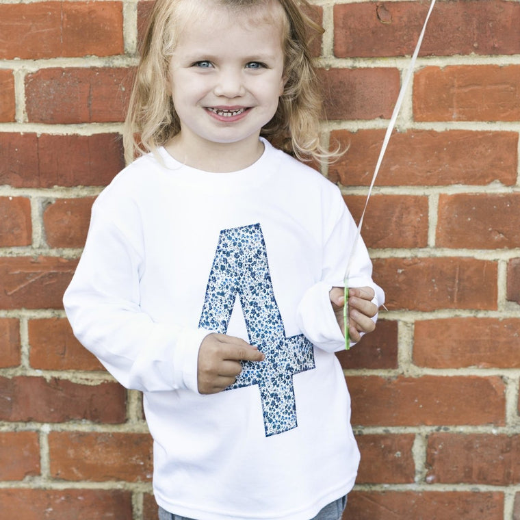 4th Birthday Top, Liberty of London Fabric Appliqu̩e