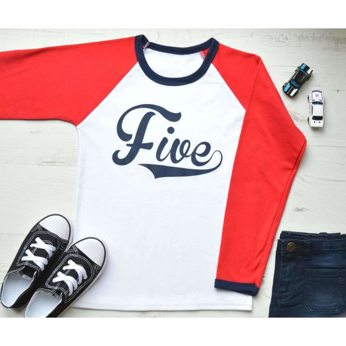 5th Birthday Raglan, Baseball Design - Cotton and Bloom