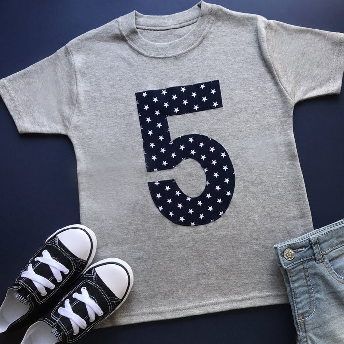 5th Birthday Shirt, Star Applique Design - Cotton and Bloom