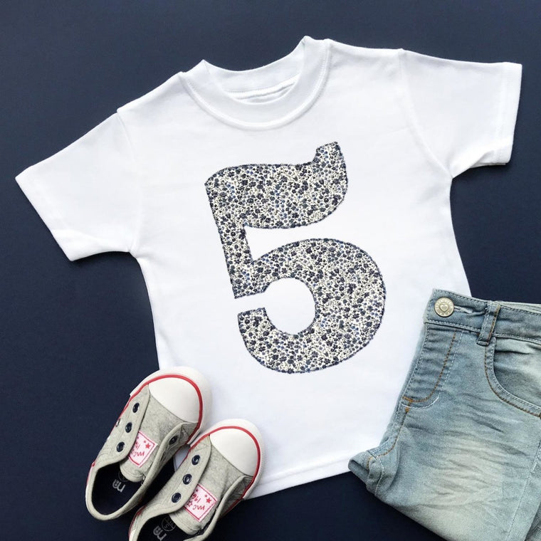 5th Birthday T-Shirt, Liberty of London Fabric Appliqu̩e