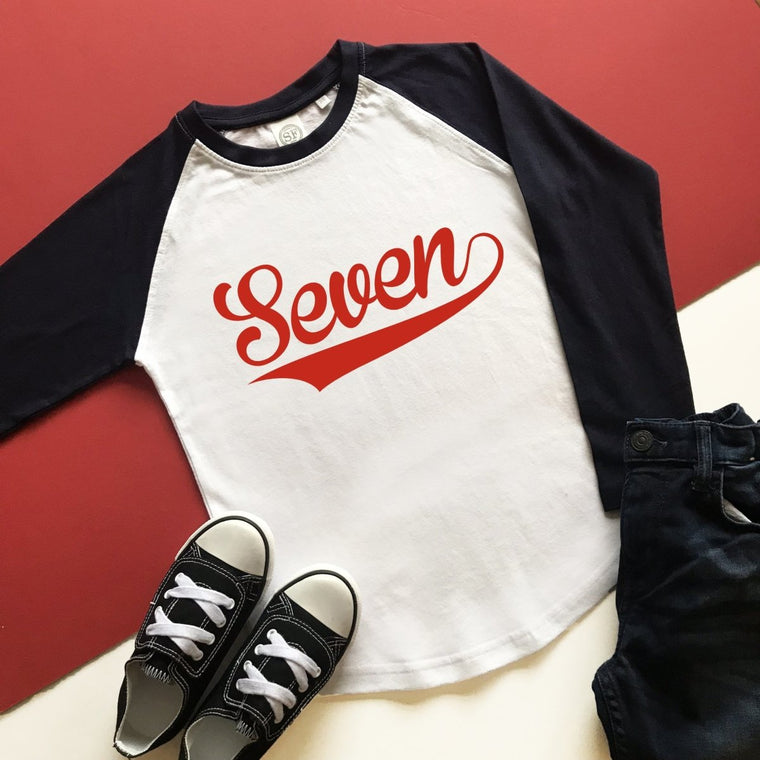 7th Birthday Raglan, Baseball Design
