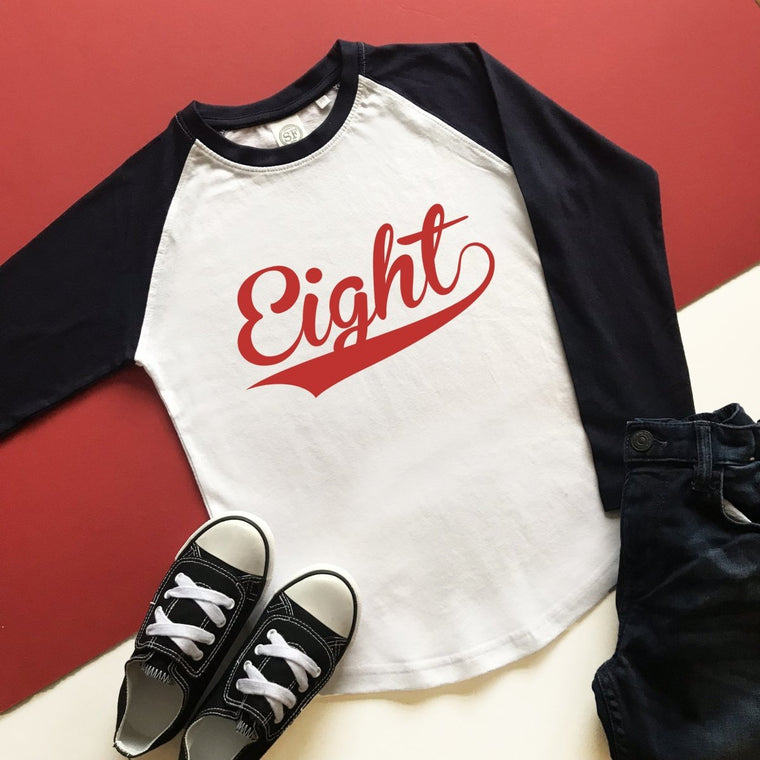 8th Birthday Raglan, Baseball Design