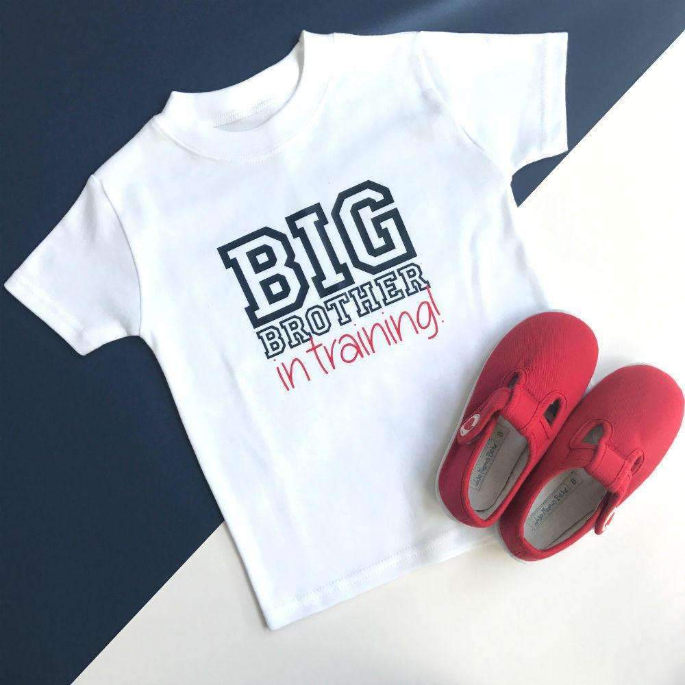 Big Brother In Training, Plain T-Shirt Varsity Design - Cotton and Bloom