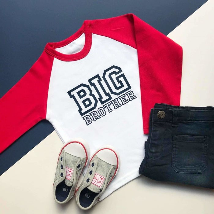 Big Brother Raglan Shirt, Raglan Varsity Design - Cotton and Bloom