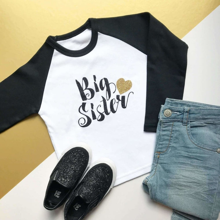 Big Sister Raglan, Script and Heart Design
