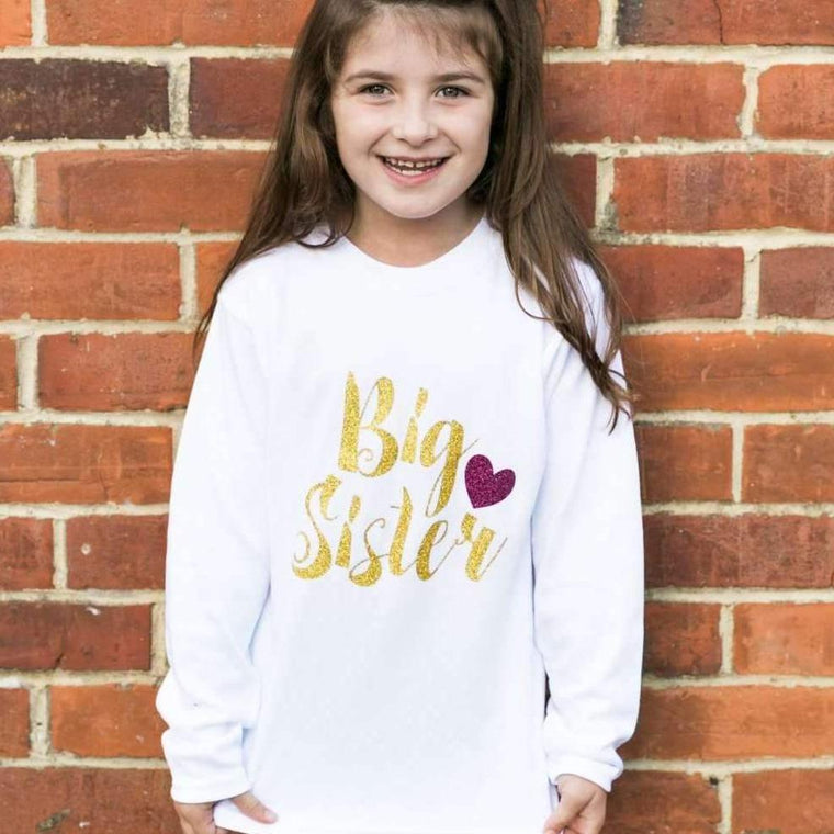 Big Sister Top, Script and Heart Design
