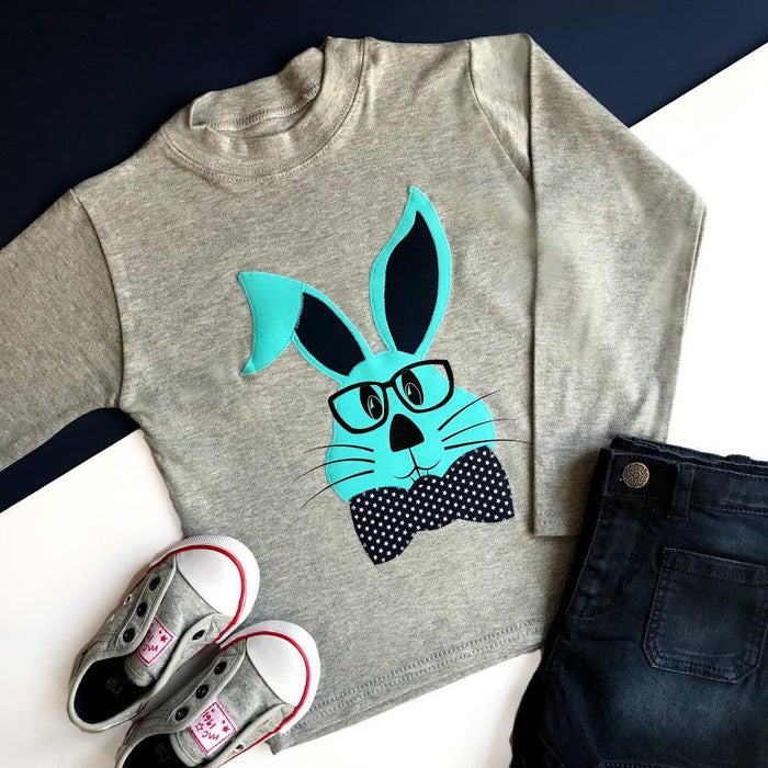 Blue Mr Easter Bunny Shirt - Cotton and Bloom