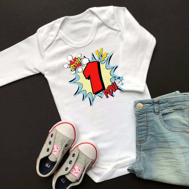 Comic 1st Birthday Bodysuit, Long Sleeve