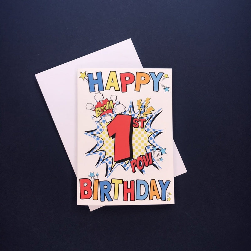 Comic 1st Birthday Card - Cotton and Bloom