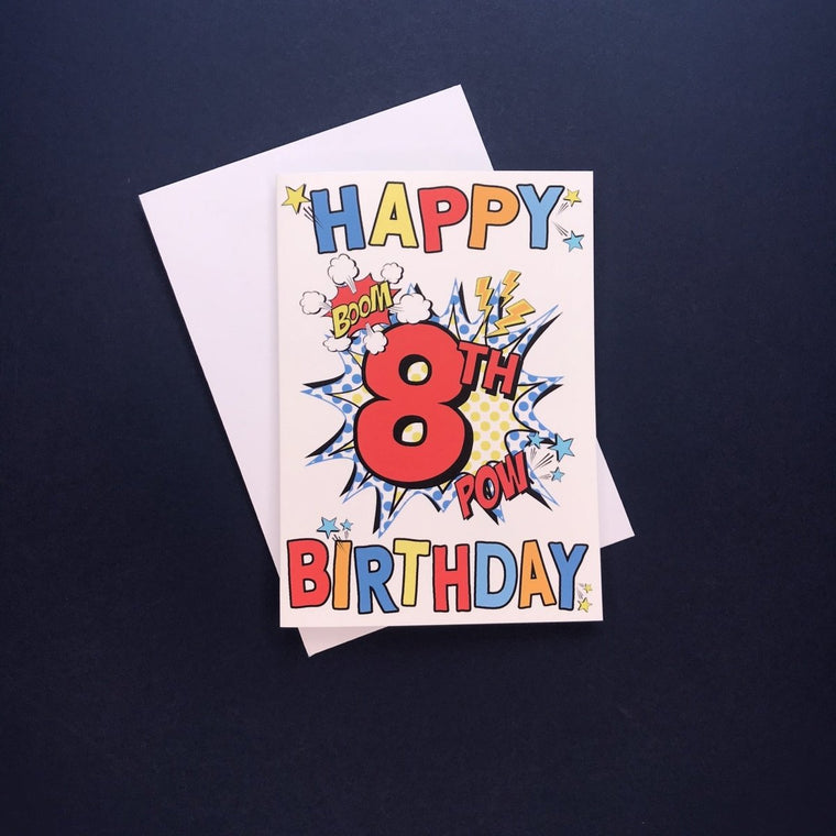 Comic 8th Birthday Card