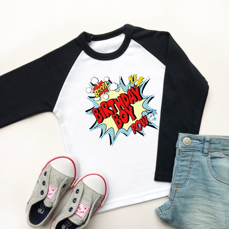 Comic Birthday Boy Raglan Shirt