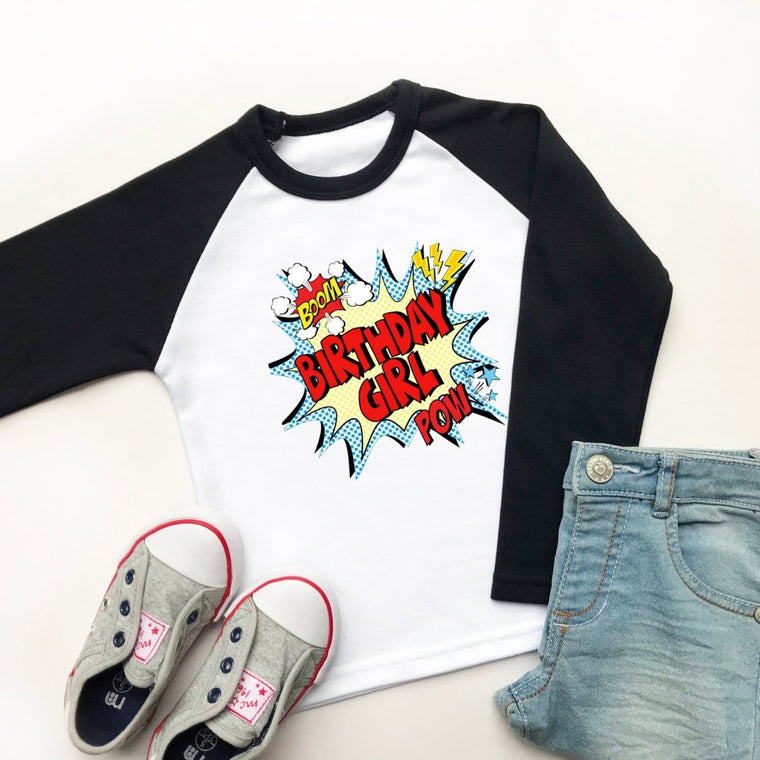 Comic Birthday Girl Raglan Shirt