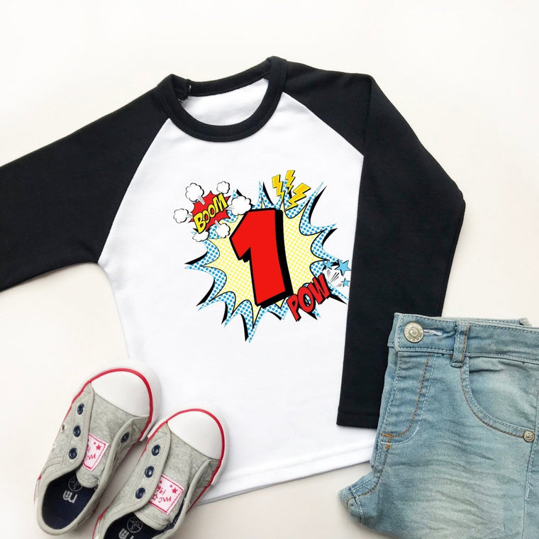 Comic Style 1st Birthday Raglan Shirt