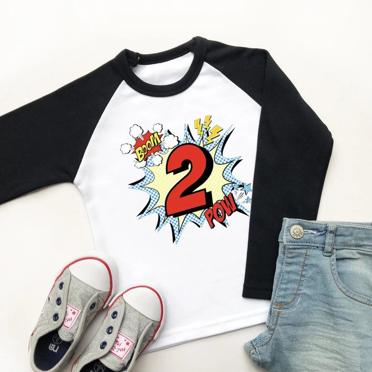 Comic Style 2nd Birthday Raglan Shirt