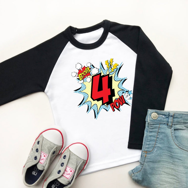 Comic Style 4th Birthday Raglan Shirt