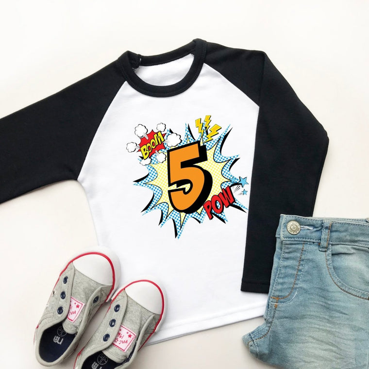 Comic Style 5th Birthday Raglan Shirt