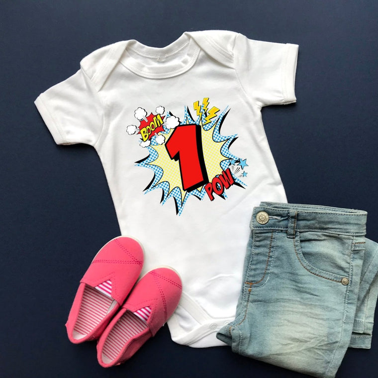 Comic Style First Birthday Vest, Short Sleeve Vest