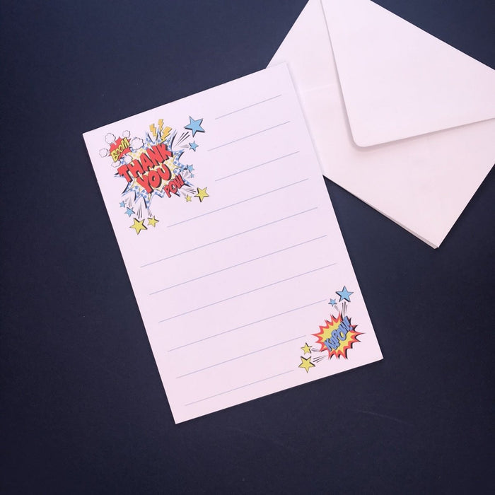 Comic Thank You Note Pad and Envelopes - Cotton and Bloom