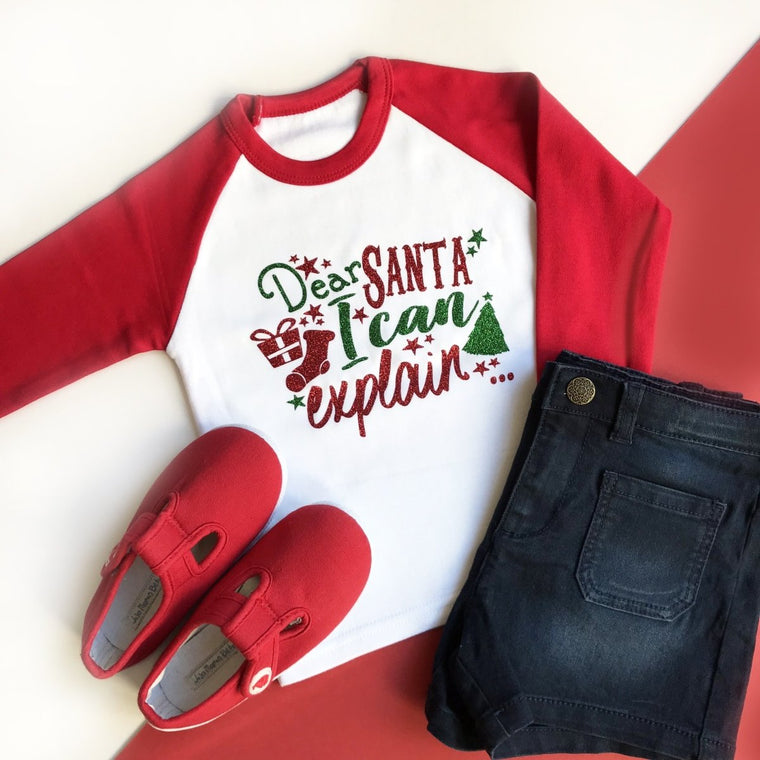 Dear Santa I can explain, Kids Christmas Raglan