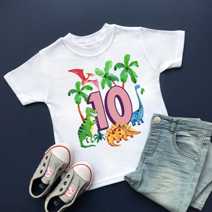 Dinosaur 10th Birthday, Plain Top - Cotton and Bloom