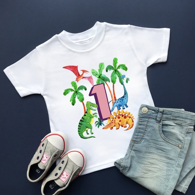 Dinosaur 1st Birthday, Plain Top - Cotton and Bloom